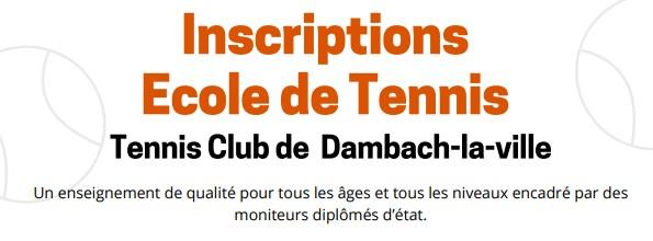 INSCRIPTIONS : Ecole de tennis saison 2020/2021